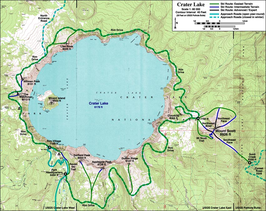 Crater Lake Topographic Map.Skiing The Cascade Volcanoes Crater Lake
