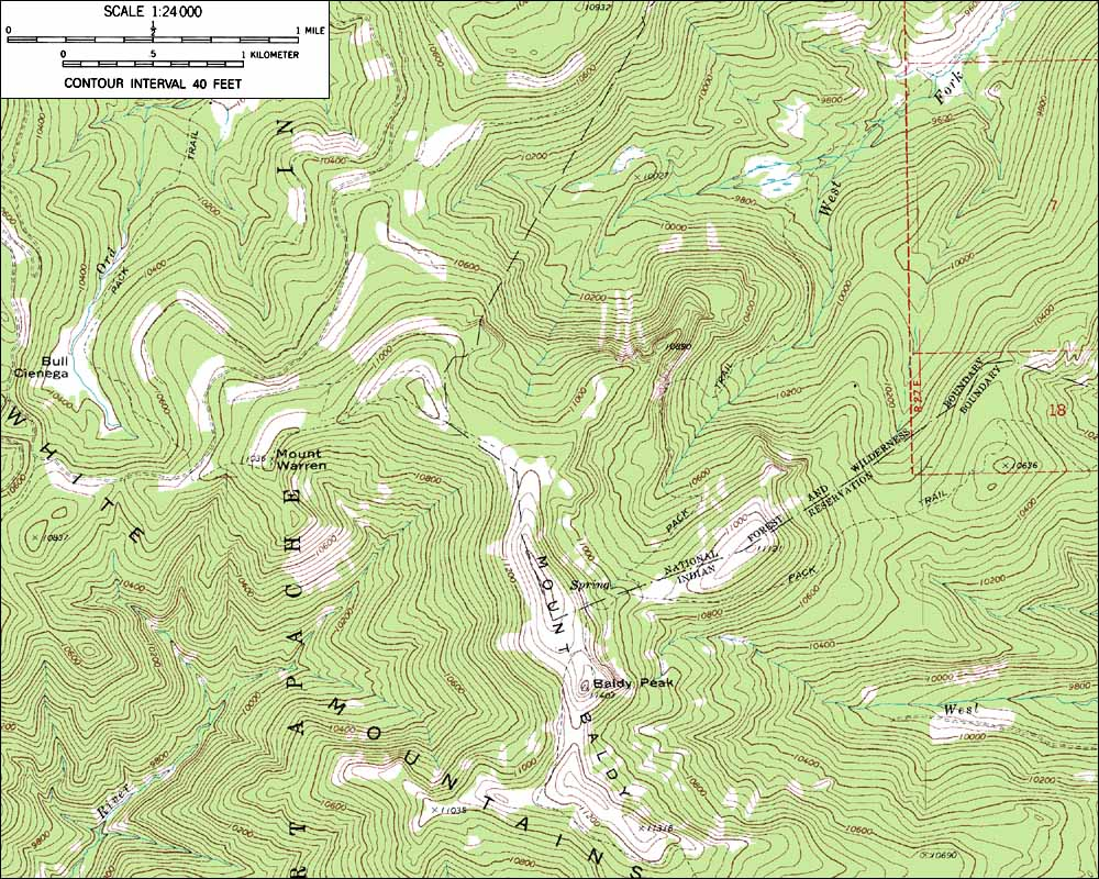 topographic map of the summit of mount baldy 1 24 000 scale from usgs mount baldy